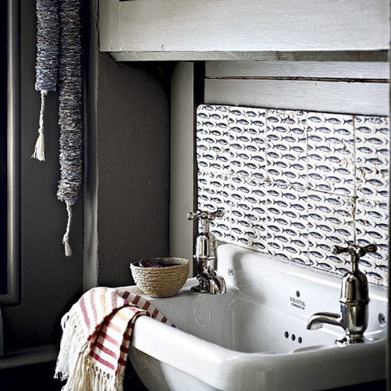 bathroom tile ideas vintage fish print reclaimed bathroom tiles