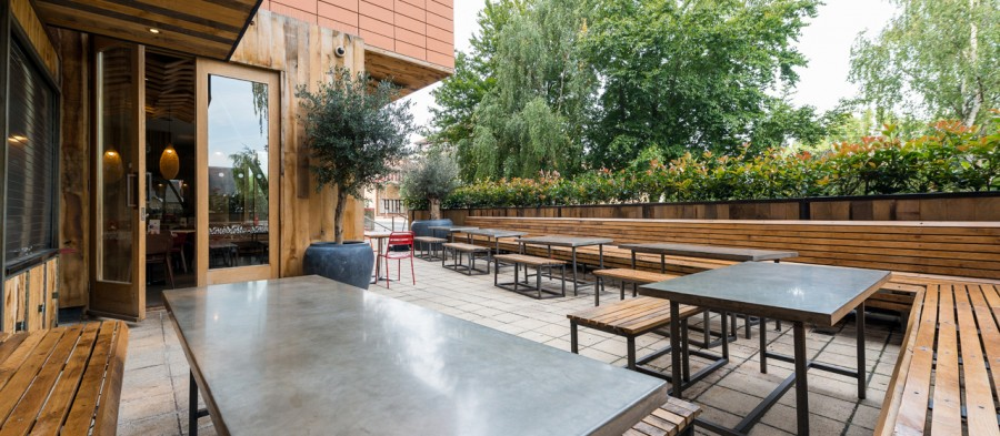 Concrete worktops and outdoor tables